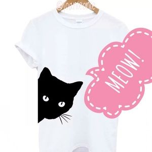 Tops - Peekaboo Black Cat T-shirt White